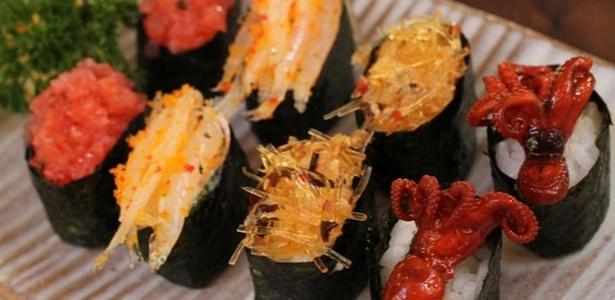 Sushi de iguarias é uma das especialidades do restaurante Koizan